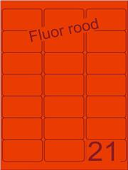 Etiket fluor rood 63,5x38,1mm (21) ds100vel A4