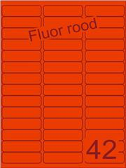 Etiket fluor rood 65x20mm (42) ds200vel A4