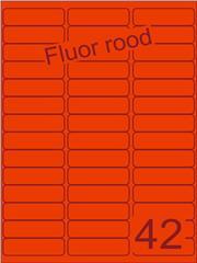 Etiket fluor rood 65x20mm (42) ds200vel A4