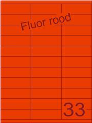 Etiket fluor rood 70x25,4mm (33) ds100vel A4