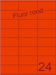 Etiket fluor rood 70x36mm (24) ds100vel A4
