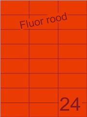 Etiket fluor rood 70x37,1mm (24) ds100vel A4