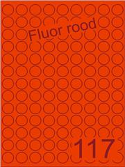 Etiket fluor rood rond ø19mm (117) ds200vel A4
