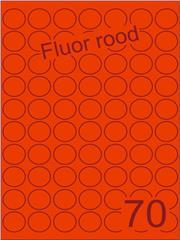 Etiket fluor rood rond ø25mm (70) ds200vel A4