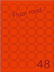 Etiket fluor rood rond ø32mm (48) ds100vel A4