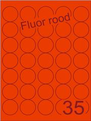 Etiket fluor rood rond ø35mm (35 ds200vel A4
