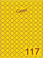 Etiket geel rond ø19mm (117) ds200vel A4