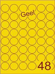 Etiket geel rond ø32mm (48) ds100vel A4