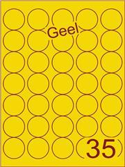 Etiket geel rond ø35mm (35) ds200vel A4
