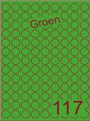 Etiket groen rond ø19mm (117) ds200vel A4