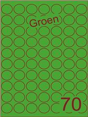 Etiket groen rond ø25mm (70) ds200vel A4