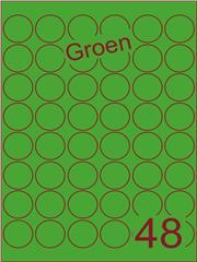 Etiket groen rond ø32mm (48) ds100vel A4