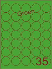 Etiket groen rond ø35mm (35) ds200vel A4