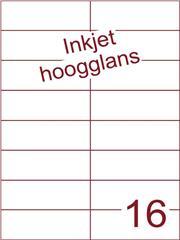 Etiket Inkjet wit hoogglans 105x37,1 (16) ds 200 vel (H16-2)