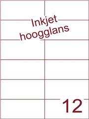 Etiket Inkjet wit hoogglans 105x49,5 (12) ds 200 vel (H12-2)