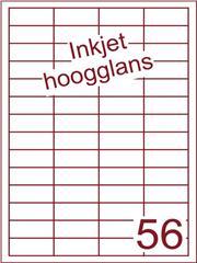 Etiket Inkjet wit hoogglans 48x20 (56) ds 200 vel (HG56-4)