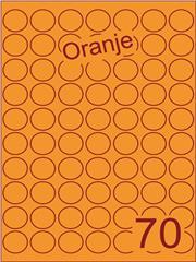 Etiket oranje rond ø25mm (70) ds200vel A4