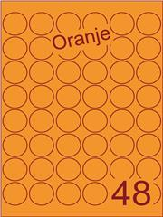 Etiket oranje rond ø32mm (48) ds200vel A4