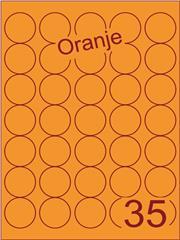 Etiket oranje rond ø35mm (35) ds200vel A4