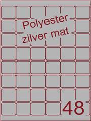 Etiket polyester aluminium zilver mat 32x32 (48) ds200vel A4 (POA48-6)