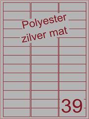 Etiket polyester aluminium zilver mat 63,5x22 (39) ds200vel A4 (POA39-3)