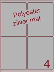 Etiket polyester aluminium zilver mat 99,1x139 (4) ds200vel A4 (POA4-2)