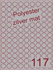 Etiket polyester aluminium zilver mat rond ø 19mm (117) ds200vel A4 (POR117-9)