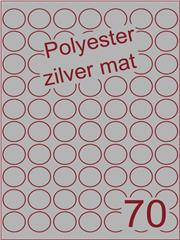 Etiket polyester aluminium zilver mat rond ø 25mm (70) ds200vel A4 ( POR70 -7)