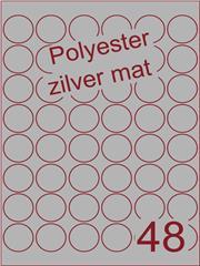 Etiket polyester aluminium zilver mat rond ø 32mm (48) ds200vel A4 (POR48-6)
