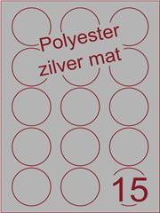 Etiket polyester aluminium zilver mat rond ø 50mm (15) ds200vel A4 ( POR15 -3)