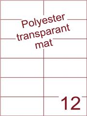 Etiket polyester Transparant mat 105x49,5 (12) ds200vel A4 (POH12-2)