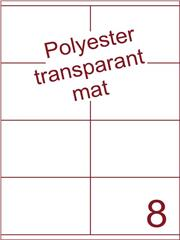 Etiket polyester Transparant mat 105x71 (8) ds200vel A4 (POHG8-2)