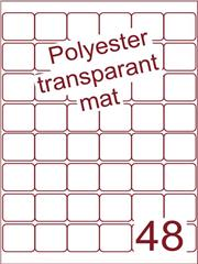 Etiket polyester Transparant mat 32x32 (48) ds200vel A4 (POA48-6)