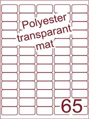 Etiket polyester Transparant mat 38,1x21,2 (65) ds200vel A4 (POA65-5)