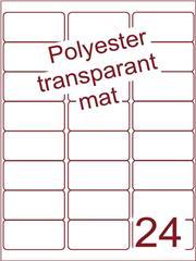 Etiket polyester Transparant mat 63,5x33,9 (24) ds200vel A4 (POA24-3)