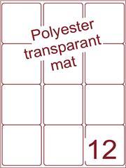 Etiket polyester Transparant mat 63,5x72 (12) ds200vel A4 (POA12-3)