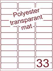 Etiket polyester Transparant mat 65x25,4 (33) ds200vel A4 (POA33-3)
