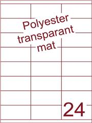 Etiket polyester Transparant mat 70x35 (24) ds200vel A4 (POHG24-3S)