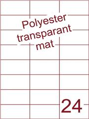 Etiket polyester Transparant mat 70x37,1 (24) ds200vel A4 (POH24-3H)