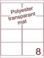 Etiket polyester Transparant mat 99,1x67,7 (8) ds200vel A4 (POA8-2)