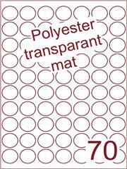 Etiket polyester Transparant mat rond ø 25mm (70) ds200vel A4 (POR70-7)
