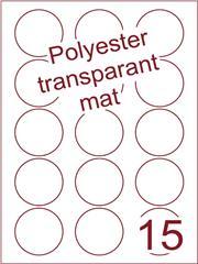 Etiket polyester Transparant mat rond ø 50mm (15) ds100vel A4 (POR15-3)