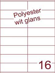 Etiket polyester wit glanzend 105x36 (16) ds100vel A4
