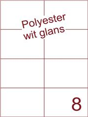 Etiket polyester wit glanzend 105x74,25 (8) ds100vel A4