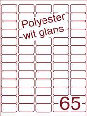 Etiket polyester wit glanzend 38x21,2 (65) ds100vel A4 (Dit etiket heeft rechte hoekjes)
