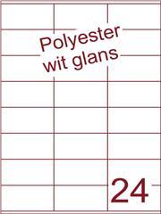 Etiket polyester wit glanzend 70x36 (24) ds100vel A4