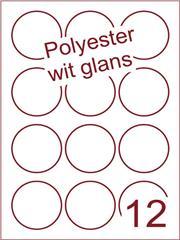 Etiket polyester wit glanzend rond Ø60mm (12) ds100vel A4