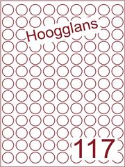 Etiket hoogglans wit rond ø19mm (117) ds500vel A4 (R 117-9)