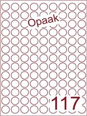 Etiket opaak wit rond ø19mm (117) ds200vel A4 (R117-9)