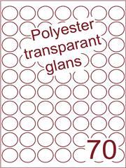Etiket polyester Transparant glans rond ø 25mm (70) ds100vel A4 Laser (POR70-7)